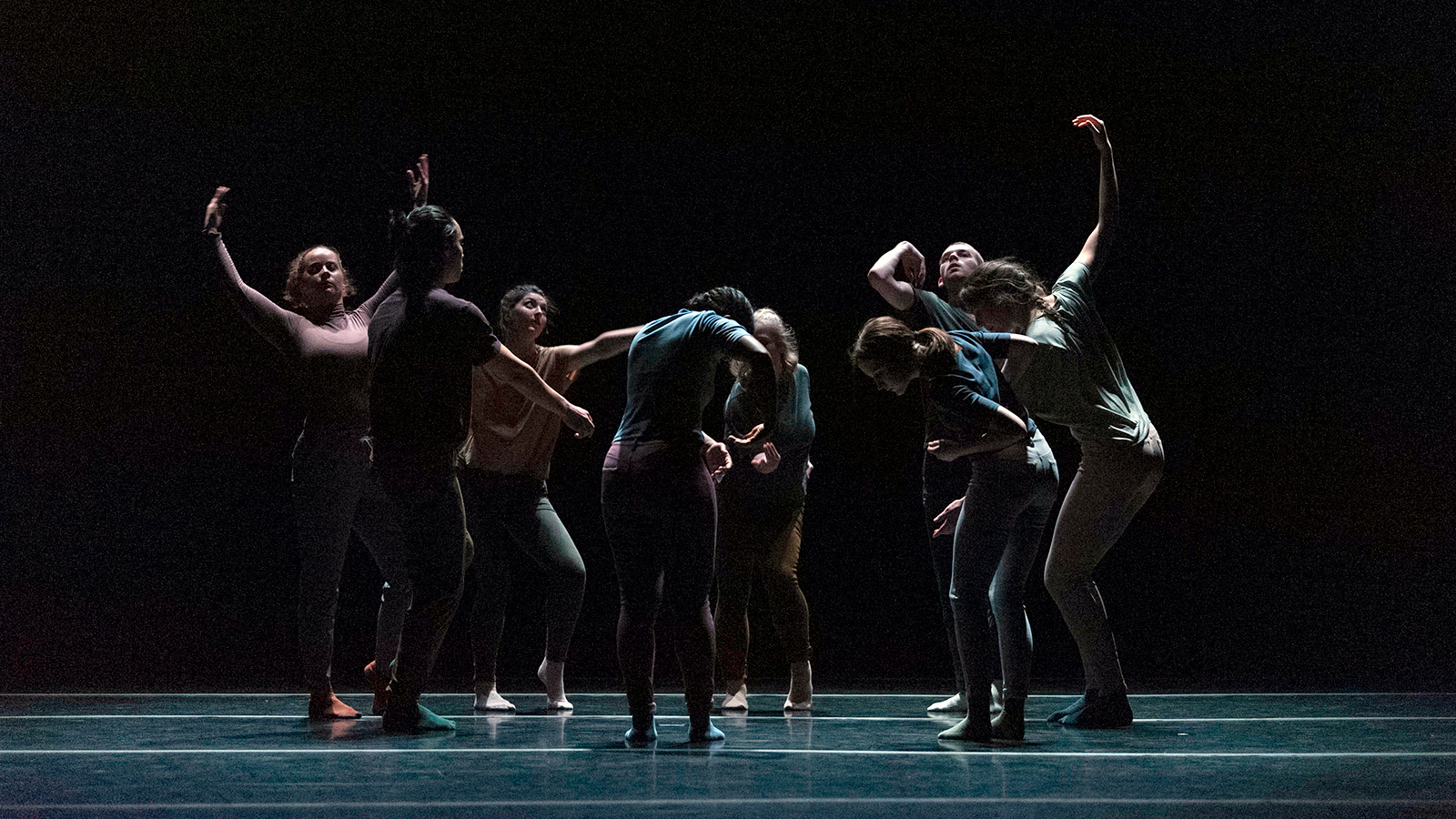 Dancers on stage at the University of Iowa