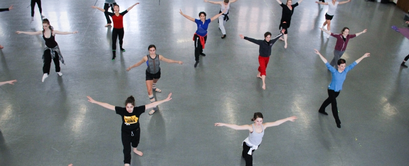 Dancers rehearsing in the Dance Department